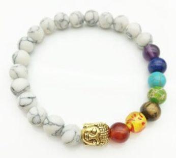 KD Eastern Yoga Crystal Rock 7-Chakra Healing Reiki Buddha Charm Bracelet