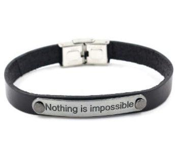 "KD PU Vegan Leather Bracelet ""Nothing Is Impossible"" S/M/L – Black B-SS-LBLN"