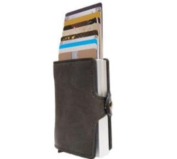 KD RFID Blocking Men Wallet Multifunction Aluminum Automatic 10 Card Slot Card Holder Smart Wallet (Vegan Leather) Black (871-00)