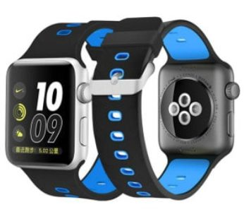 KD Silicone Strap for 38/40mm Apple Watch (S/M/L) – Black & Blue (S-A38MM-B+BS)