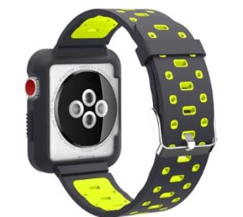 Ultimate Deals KD Silicone Strap + Bumper Case for 38/40mm Apple Watch (S/M/L) – Black & Yellow (S-A38MM-B+YS+)