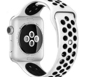 KD Silicone Strap for 42/44mm Apple Watch (S/M) – White & Black (S-A42MM-W+B)