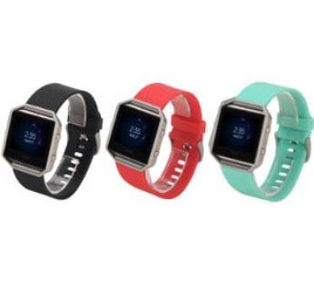 KD Fitbit Blaze silicone strap (S-M) combo – (x3) Black, red, f.blue