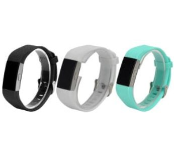 KD Fitbit Charge 2 silicone strap (M-L) combo – (x3) White, f.blue, black