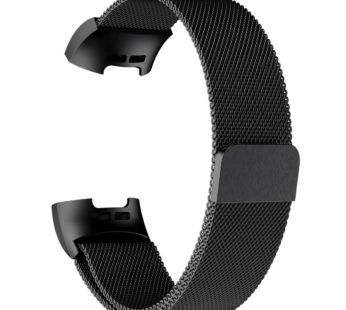 KD Stainless Steel Milanese Loop Strap Fitbit Charge 3/4, Sense M/L Black (FC3M-ML-B)