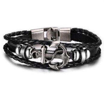 KD Anchor Charm Stainless Steel PU Vegan Leather Bracelet S/M – B-SS-LA