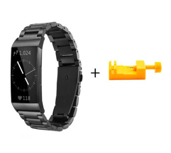KD Stainless Steel Strap for Fitbit Charge 3/4, Sense – Black (S-FC3L-S-B) + Link removal tool