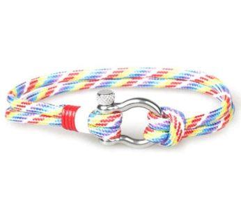KD Stainless Steel Shackle Rope Bracelet, rainbow