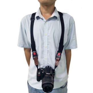 Shoulder harness camera strap for safeguarding these pieces to your body.