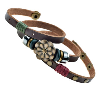 KD 22cm handmade lucky Lotus flower PU vegan leather bracelet – Dark brown