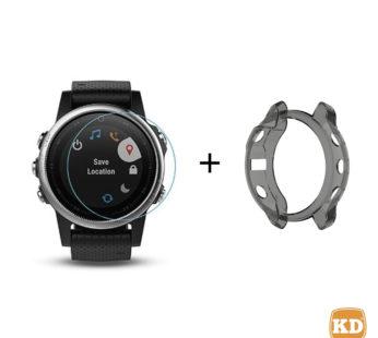 KD Garmin Fenix 6S TPU case (black) + screen protector combo