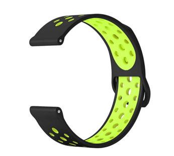 KD 18mm Samsung Gear Sport silicone strap – Black & green (S-M-L)