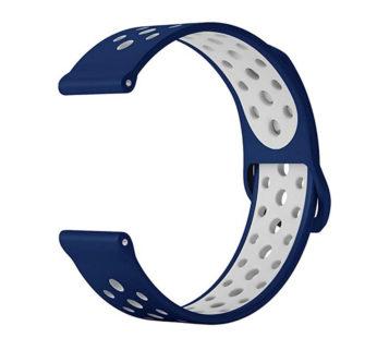 KD 18mm Samsung Gear Sport silicone strap – Navy & white (S-M-L)