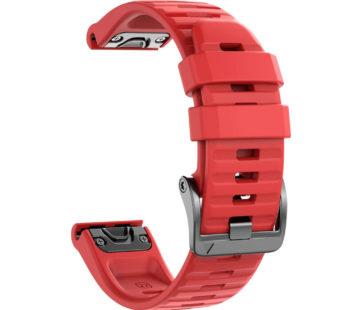 KD 26mm Garmin Fenix 6X/Pro/5X/Plus silicone strap – Red (S-M-L)