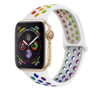 KD 42/44mm Apple Watch 6/5/4/3/2/1 silicone strap – White + Rainbow (M-L)
