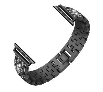 KD 40mm Apple Watch 6/5/4 shiny rhinestone stainless-steel strap – Black (S-M-L)