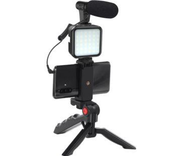 KD Vlogging/Broadcast Recording Equipment Shotgun Mount + Microphone & LED