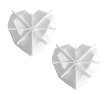 KD Dessert 3D Diamond Heart Shaped Silicone Baking Mould Set – White /x2