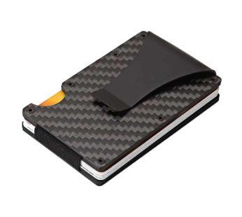 KD Minimalist Carbon Fiber RFID Credit Card Holder Wallet – Black
